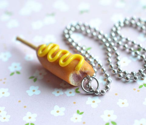 Corn Dog Junk Food Necklace, Polymer Clay