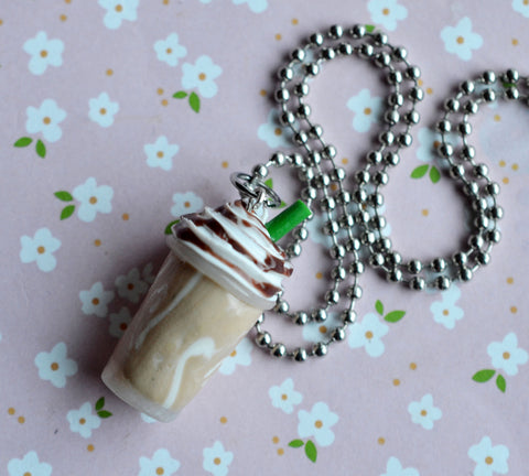 Mocha Coffee Polymer Clay Necklace