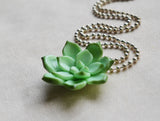 Miniature Succulent Plant Polymer Clay Necklace