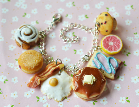 Breakfast Food Themed Polymer Clay Miniature Food Charm Bracelet
