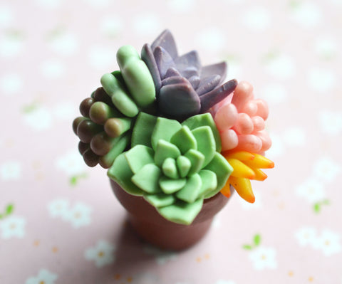 Polymer Clay Mini Succulent Potted Plant Arrangement Magnet