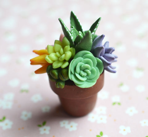Polymer Clay Cactus Succulent Plat Arrangement in Mini Terracotta Pot Magnet