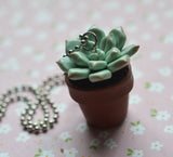 Miniature Potted Succulent Polymer Clay Necklace