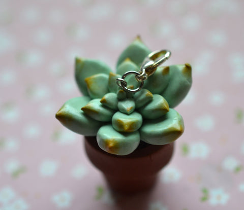 Miniature Succulent Charm, Pendant, Key Chain, Polymer Clay Succulent