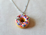 Strawberry Frosted Doughnut with Rainbow Sprinkles Necklace, Polymer Clay