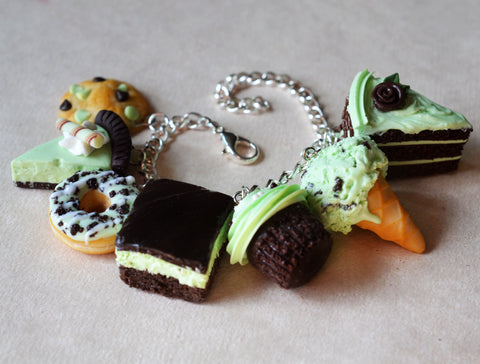 Mint Chocolate Polymer Clay Charm Bracelet