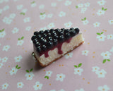 Blueberry Cheesecake Slice Polymer Clay Charm or Key Chain