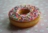 Pink Strawberry Doughnut With Rainbow Sprinkles Food Magnet Polymer Clay Miniature