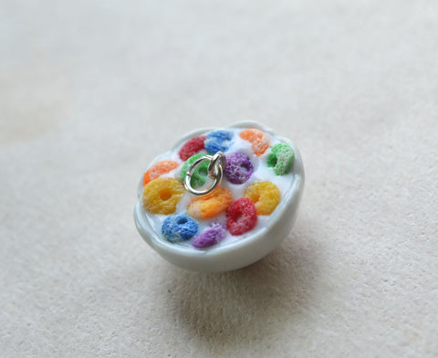 Miniature Bowl of Fruit Loops Cereal Polymer Clay Charm, Key Chain, or Stitch Marker