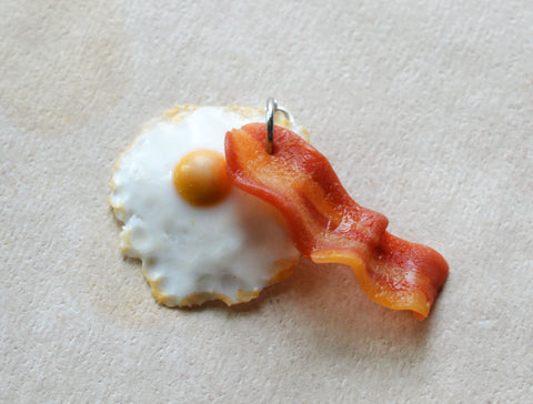 Bacon and Egg Charm, Stitch marker, Key Chain Realistic Polymer ClayMini Food