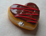 Polymer Clay Miniature Valentine's Day Chocolate Drizzle Heart Shaped Doughnut Magnet