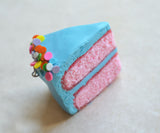 Blue Birthday Cake Slice Polymer Clay Cake Slice Charm, Pendant, Key Chain