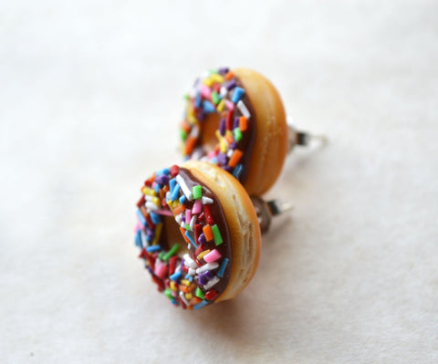 chocolate doughnut with rainbow sprinkles post earrings, polymer clay