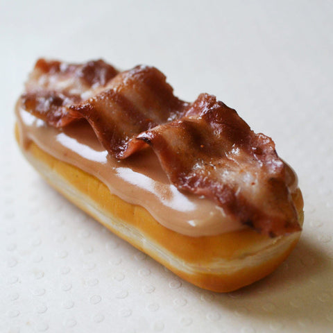 Maple bar doughnut with bacon miniature food magnet, polymer clay fridge magnet