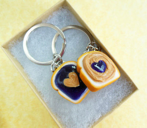 Grape Peanut Butter and Jelly Sandwich BFF Best Friend Key Chain Set