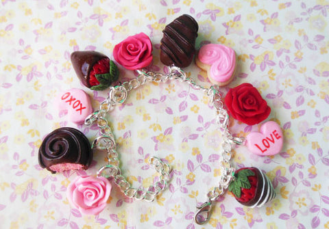 Polymer Clay Valentine's Day Roses and Chocolates Charm Bracelet