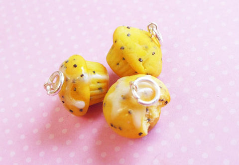 Lemon Poppyseed Muffin Polymer Clay Charm or Keychain