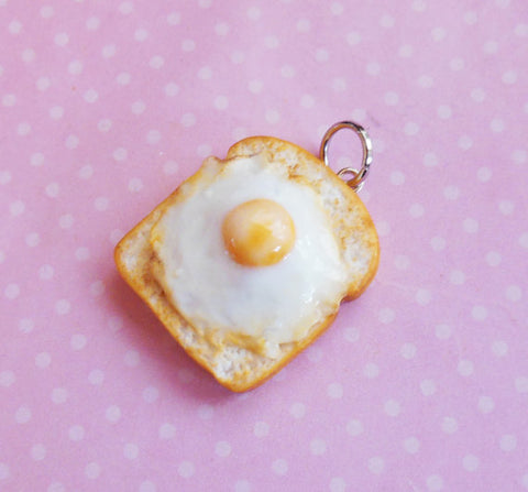 Fried Egg on Toast Polymer Clay Charm or Key Chain