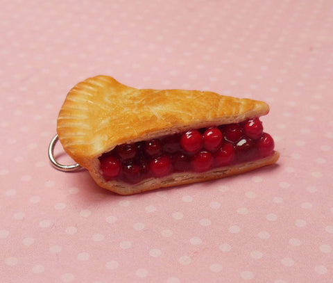 Cherry Pie Slice Polymer Clay Charm or Key Chain