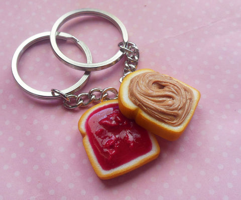 Strawberry Peanut Butter and Jelly Friendship Best Friends Key Chain Set