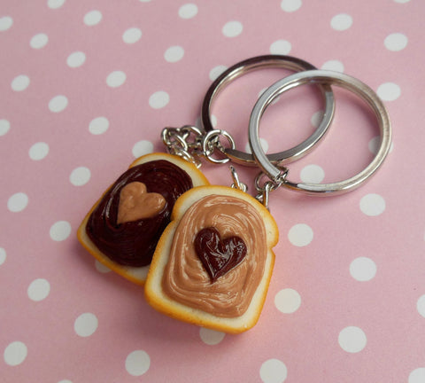 Nutella and Peanut Butter Lover Best Friend Key Chain Set