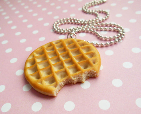 Eleven Waffle Necklace, Polymer Clay