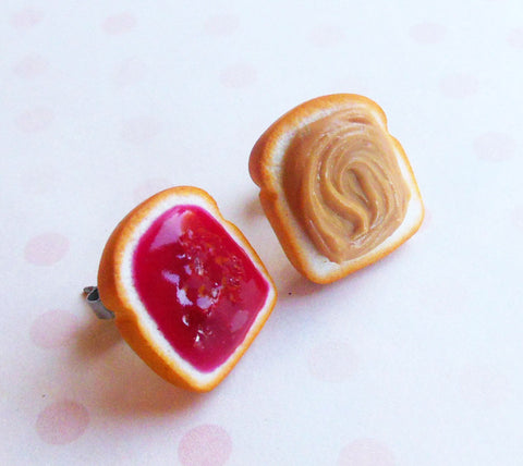 Peanut Butter and Jelly Stud Post Earrings, Strawberry