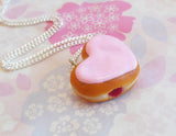 Heart Shaped Jelly Filled Doughnut Necklace, Polymer Clay