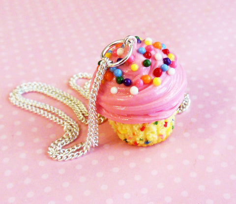 Confetti Pink Vanilla Cupcake Necklace, Polymer Clay