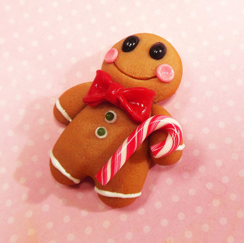 gingerbread boy polymer clay Christmas magnet