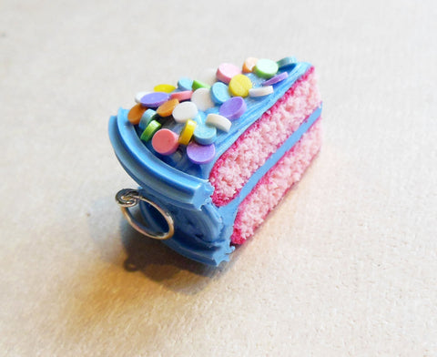 Sky Blue Strawberry Cake Slice Charm or Key Chain Polymer Clay