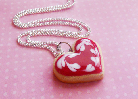 Valentine's Day Red Heart Sugar Cookie Necklace, Polymer Clay