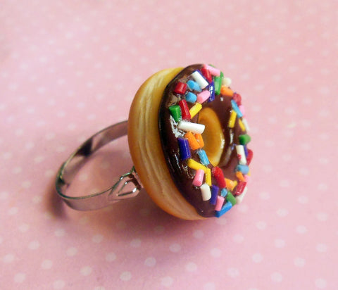 chocolate doughnut with rainbow sprinkles ring, polymer clay