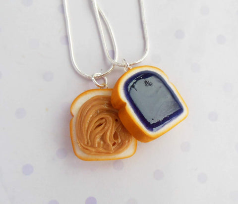 Grape Peanut butter and Jelly Best friend Friendship BFF necklaces or key chain set