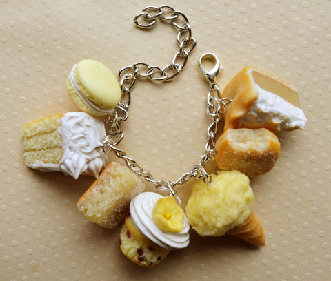 Lemon Dessert Charm Bracelet. Polymer Clay mini Food
