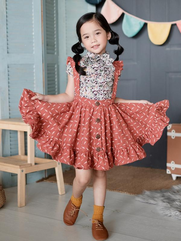 Girl wearing Laila & Lyra - Bethany 2 in 1 Jumper Dress and Skirt