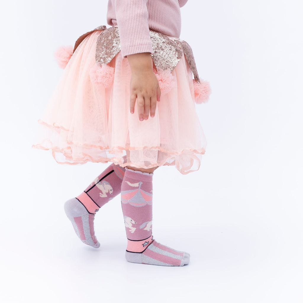 Girl wearing Billy Loves Audrey Carnival Merry Go Round Socks
