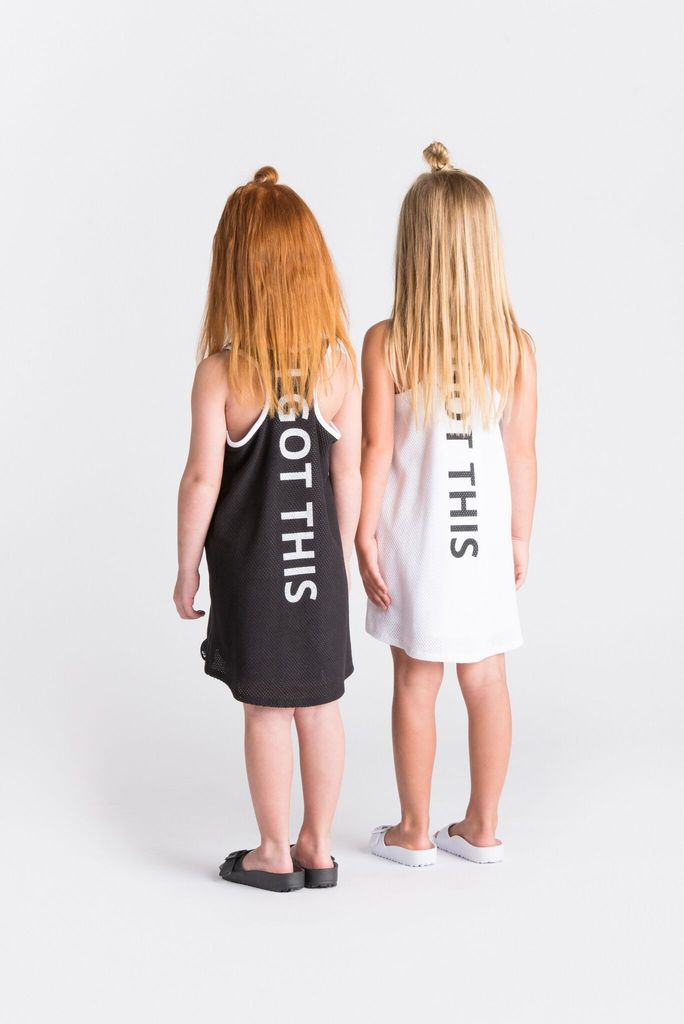 Girls Racerback Tank Dress with I GOT THIS Back Print | Black