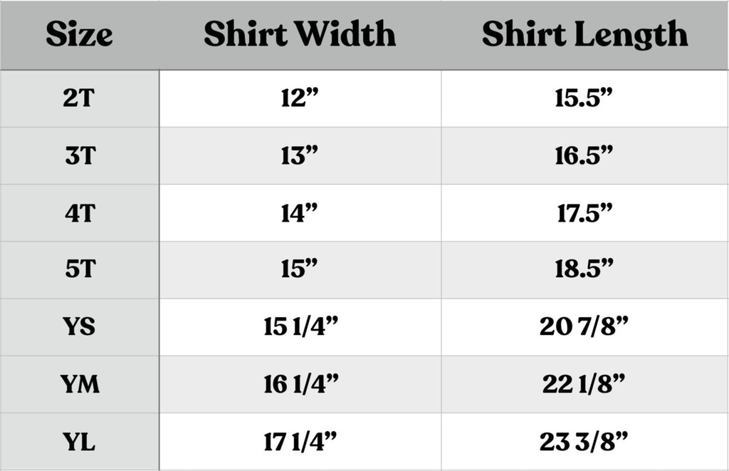 Rivet Apparel Co kids sizing chart
