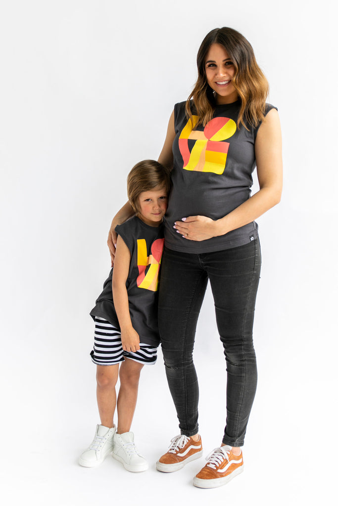Girl and Mom twinning in Whistle & Flute Modern Love Sleeveless T-Shirt