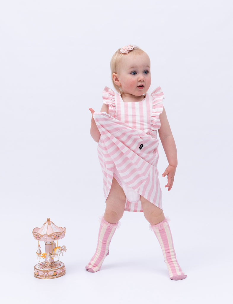 Girl wearing Billy Loves Audrey Carnival Big Top Stripe Socks