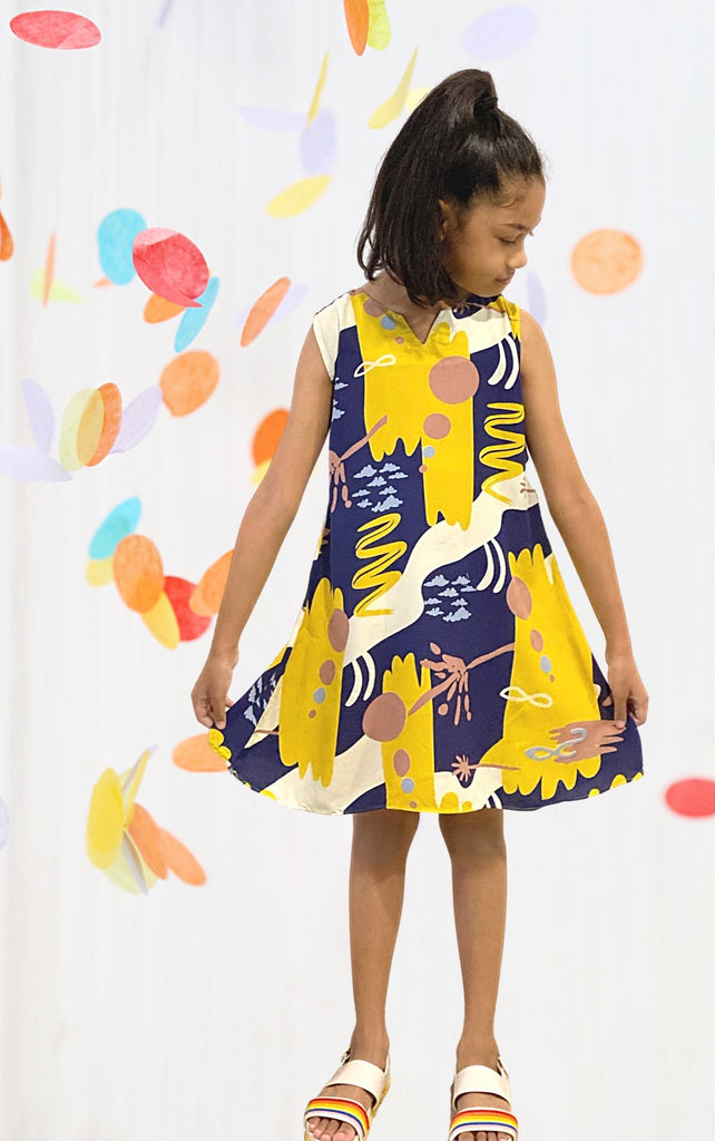 Fina Abstract Dress - Girls (Twinning)