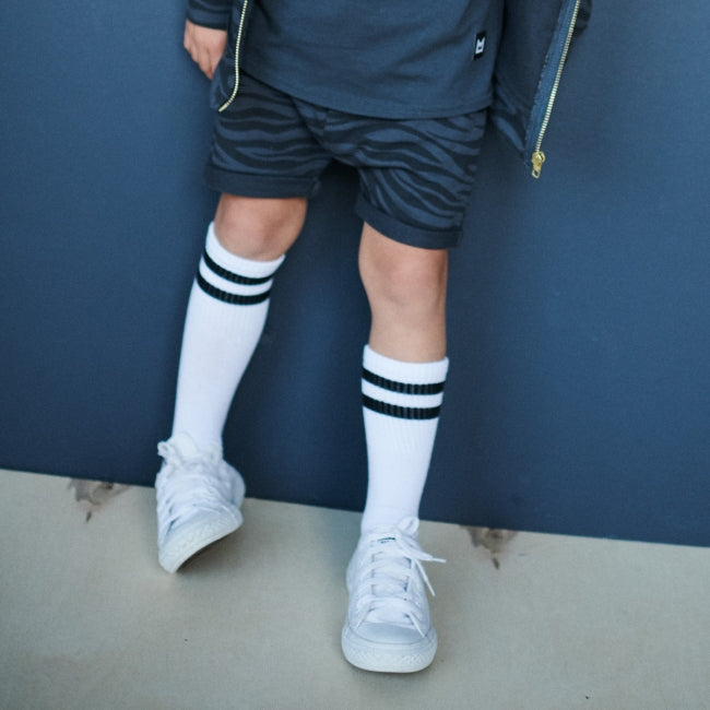 Boy wearing MINIKID Kyoto Navy Zebra Shorts