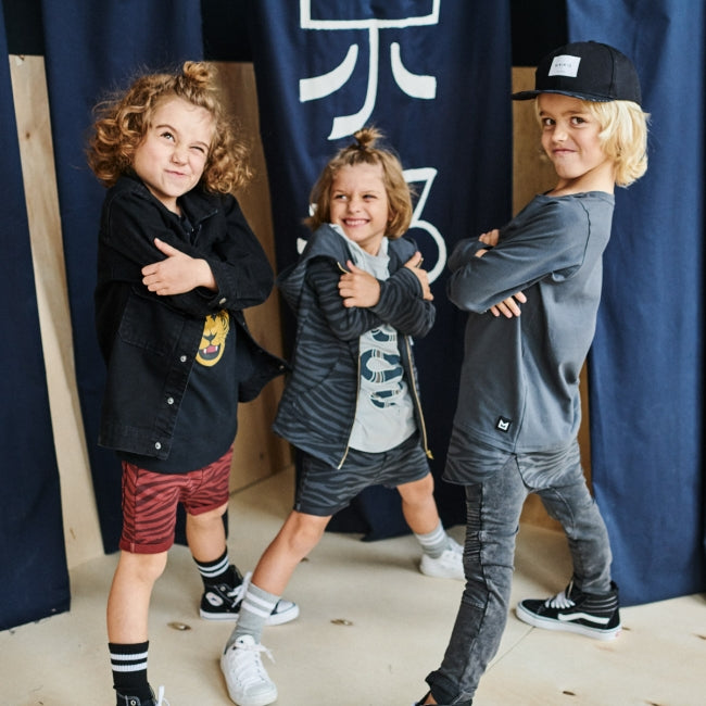 3 kids wearing MINIKID Kyoto collection apparel