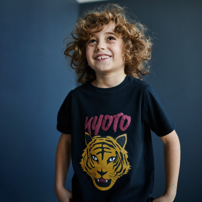 Boy wearing Minikid Kyoto Tiger T-shirt