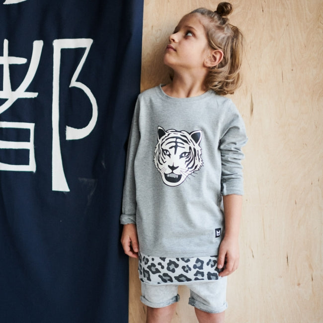 Girl wearing MINIKID Long Sleeve White Tiger T-shirt