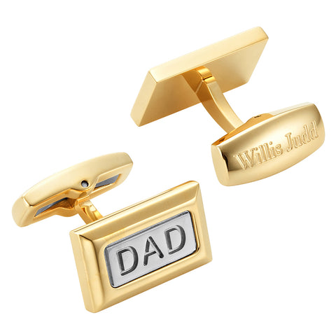 Cufflink engraved DAD in Gold Two Tone