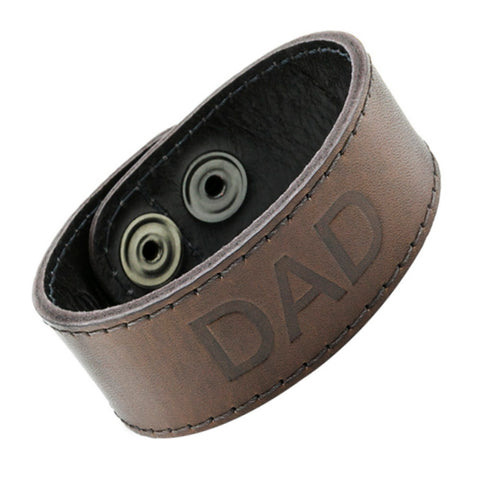 Leather dad bracelet embossed Love You Dad