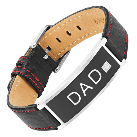 Mens Carbon Leather Bracelet engraved Love You Dad with CZ