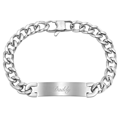 Mens Stainless Steel Engraved DAD bracelet